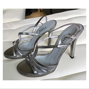 Shoes - Silver strappy heels sandals